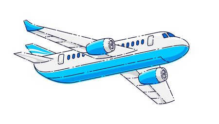 Flying plane passenger airliner isolated over white background, beautiful thin line 3d vector illustration.  イラスト・ベクター素材