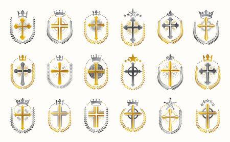 Vintage Christian crosses vector logos or emblems, heraldic design elements big set, classic style heraldry religion symbols, antique designs.