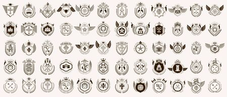 Heraldic Coat of Arms vector big set, vintage antique heraldic badges and awards collection, symbols in classic style design elements, family or business.