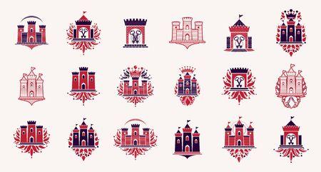 Fortresses emblems vector emblems big set, castles heraldic design elements collection, classic style heraldry architecture symbols, antique forts and citadels.