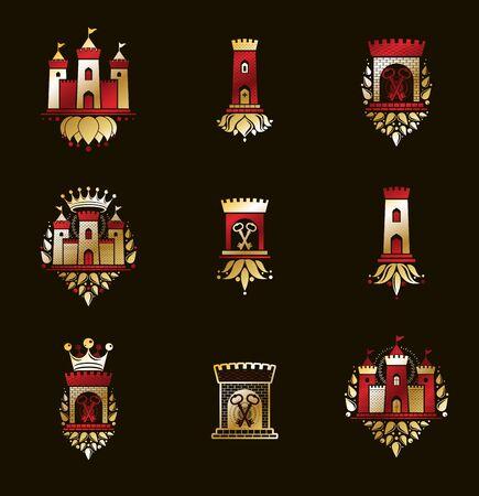 Emblèmes de forteresses vecteur grand ensemble d'emblèmes, collection d'éléments de conception héraldique de châteaux, symboles d'architecture héraldique de style classique, forts antiques et citadelles. Vecteurs