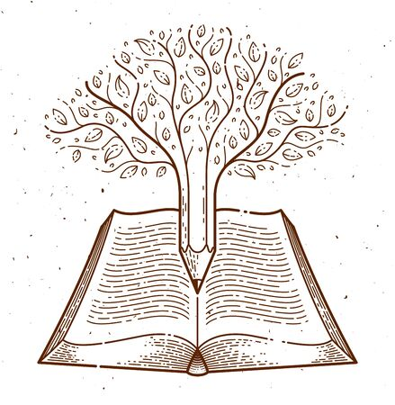 Tree combined with pencil over open vintage book education or science knowledge concept, educational or scientific literature library vector emblem. Illusztráció
