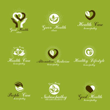Living in harmony with nature metaphor, set of green health ideas. Wellness center abstract modern emblems. Imagens - 131135733