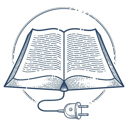 Open book with cable plug vector linear icon, electronic book concept line art symbol, e-book, education and literature reading library. Векторная Иллюстрация