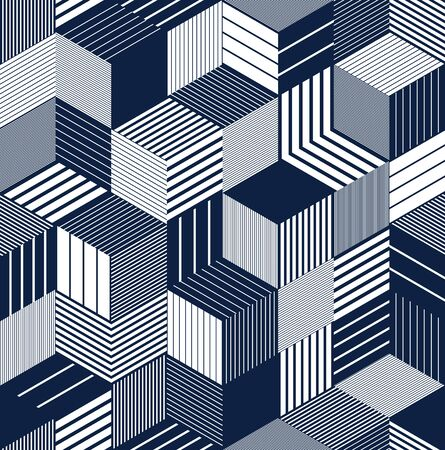 3D cubes seamless pattern vector background, lined dimensional blocks, architecture and construction, geometric design. Иллюстрация