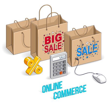 Online Shopping concept, web store, internet sales, Shop bag with pc mouse and percent symbol isolated on white. Vector 3d isometric business and finance illustration, thin line design.