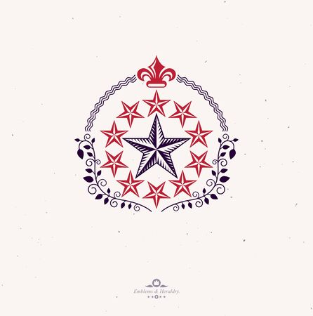 Pentagonal Stars emblem created with royal lily flower and floral ornament, union theme symbol. Heraldic Coat of Arms, vintage vector. Banque d'images - 131135838