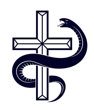 Serpent on a Cross vintage tattoo, snake wraps around Christian cross, God and Devil allegory, the struggle between good and evil, symbolic vector illustration or emblem. Illusztráció