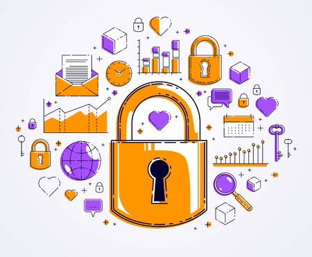 Padlock lock surrounded by different icons set, internet protection concept, antivirus or firewall, data protection personal account password, vector design. Çizim