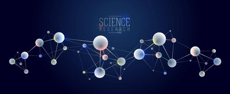 Molecules vector abstract background, 3D dimensional science chemistry and physics theme design element, atoms and particles micro nano scientific illustration. Illustration