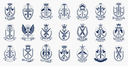 Weapon big vector set, vintage heraldic military emblems collection, classic style heraldry design elements, ancient knives spears and axes symbols.