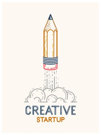 Pencil launching like a rocket start up, creative energy genius artist or designer, vector design and creativity or icon, art startup.