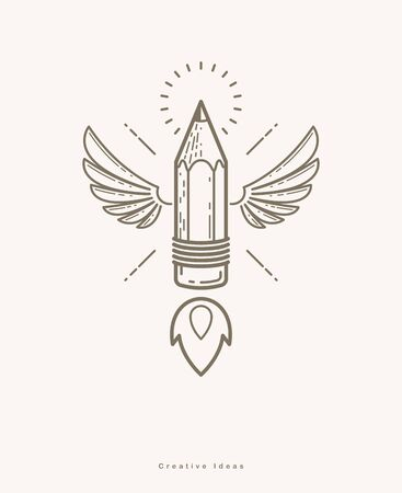 Pencil with wings launching like a rocket start up, creative energy genius artist or designer, vector design and creativity or icon, art startup. Illusztráció
