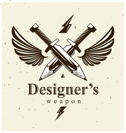 Idea is a weapon concept, weapon of a designer or artist allegory shown as two crossed swords with pencils instead of blades and wings, creative power, vector or icon.