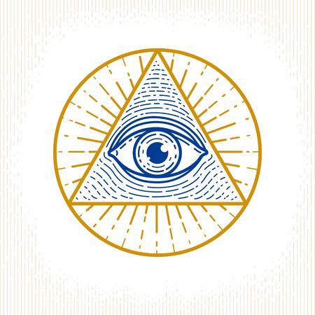 All seeing eye of god in sacred geometry triangle, masonry and illuminati symbol, vector or emblem design element. Çizim