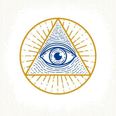 Tous les yeux voyants de dieu dans le triangle de la géométrie sacrée, la maçonnerie et le symbole illuminati, l'élément de conception de vecteur ou d'emblème. Vecteurs