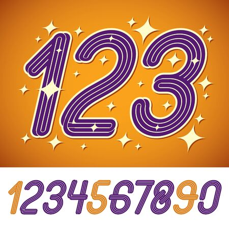 Set of stylish vector digits, funky rounded numerals collection made with triple stripes. Can be used in retro poster design as holiday advertising.