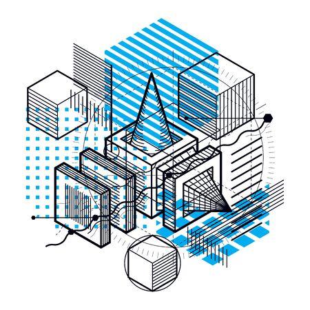 Fondo abstracto con elementos isométricos, vector arte lineal con líneas y formas. Cubos, hexágonos, cuadrados, rectángulos y diferentes elementos abstractos. Ilustración de vector