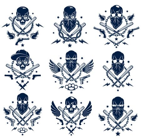 Criminal tattoo ,gang emblem with aggressive skull baseball bats and other weapons and design elements, vector set, bandit ghetto vintage style, gangster anarchy or mafia theme. 일러스트
