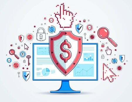 Shield over computer monitor and dollar set of icons, internet financial security concept, online finance protection, vector flat thin line design, elements can be used separately. Иллюстрация