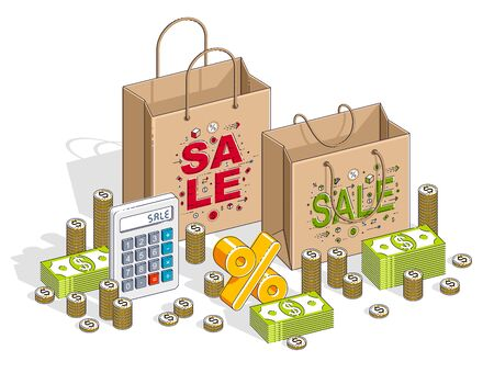 Big Sale concept, Retail, Sellout, Shopping Bag with cash money stacks and calculator isolated on white background. Vector 3d isometric business and finance illustration, thin line design. Çizim