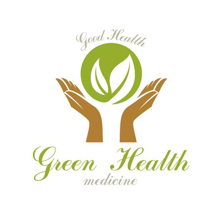Caring hands holding green spring leaves. Wellness center abstract modern emblem for use in medical and social theme advertisement. Imagens - 131136412