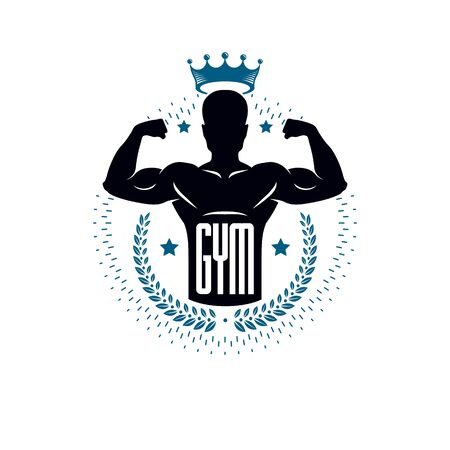 Bodybuilding and fitness sport templates, vintage style vector emblem. With bodybuilder silhouette.
