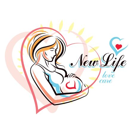Vector hand-drawn illustration of pregnant elegant woman expecting baby, sketch. Pregnancy and maternity popularization