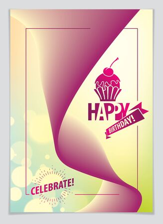 Birthday vector greeting card. Includes lettering composition and balloons combined with wavy fluid colorful shape abstract background. A4 format with CMYK colors acceptable for print. 向量圖像