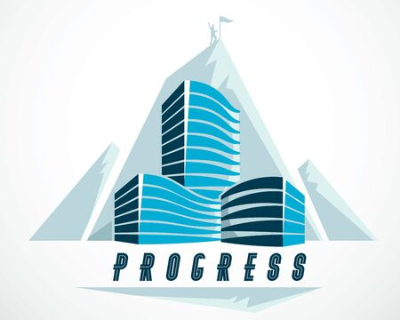 Rock climber as a concept of reaching goal of success behind of modern architecture business office building. Career concept. Vector illustration. Real estate realty center, futuristic facade.