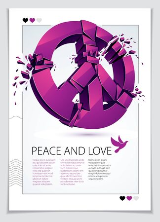 Peace Symbol breaking to pieces vector 3d realistic illustration and flyer, broken peace, antiwar meeting and protest demonstration like hippies and pacifists in 60s, against military conflicts. Çizim