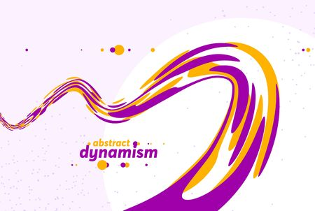 Abstract curve lines and fluid shapes vector background, dynamic energy flow, curvy wavy shapes flowing in 3D perspective template for cover or poster, advertising or print. Çizim