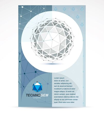 New technology theme booklet cover design, front page. Abstract geometric 3d faceted black and white object, modern digital technology and science theme vector illustration.