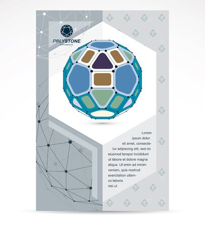 Web technologies company booklet cover design. 3d design, colorful abstract vector faceted shape.