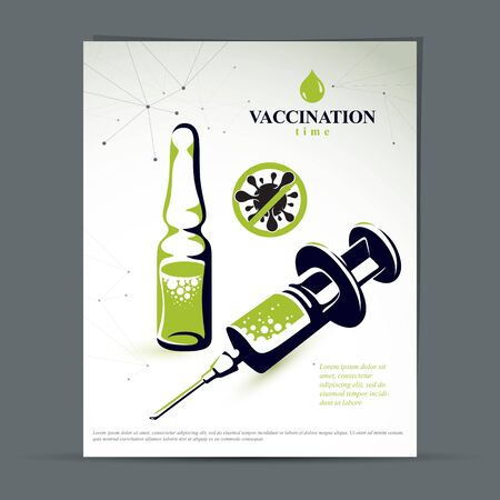 Antiviral vaccination promotion idea, brochure head page. Vector graphic illustration of ampoule with medicine and disposable syringe for injections to kill a virus.