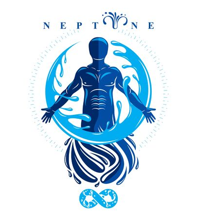 Vector graphic illustration of strong male, body silhouette surrounded by a water ball. Living in harmony with nature. Иллюстрация