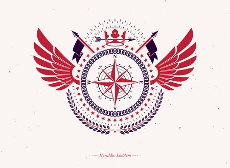 Vintage winged heraldry design template, vector emblem composed using royal crown and navigation compass. Иллюстрация