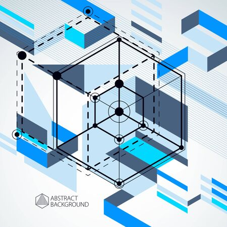 Geometric technology vector blue drawing, 3D technical wallpaper. Illustration of engineering system, abstract technological backdrop. Abstract technical background.