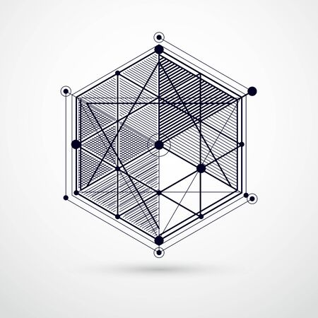 Vector of abstract geometric 3D cube pattern and black and white background. Layout of cubes, hexagons, squares, rectangles and different abstract elements.