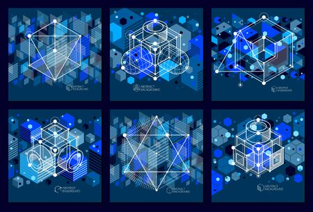 Isometric abstract dark blue backgrounds set with linear dimensional cube shapes, vector 3d mesh elements. Layout of cubes, hexagons, squares, rectangles and different abstract elements.  Ilustrace
