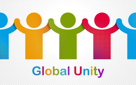 Worldwide people global society concept, different races solidarity, we stand as one, togetherness and friendship allegory, world unity cooperation, vector illustration logo or icon. Illusztráció