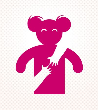 Loved woman with care hands of a lover or friend hugging her around from behind, vector icon logo or illustration in simplistic symbolic style. Illusztráció