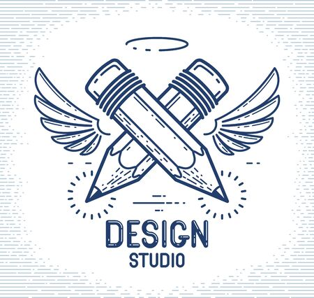 Two crossed pencils with wings and nimbus, vector simple trendy logo or icon for designer or studio, creative spirit, angel design, linear style.