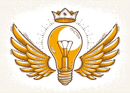 Winged light bulb creative idea concept, vector logo or icon or emblem trendy linear style.