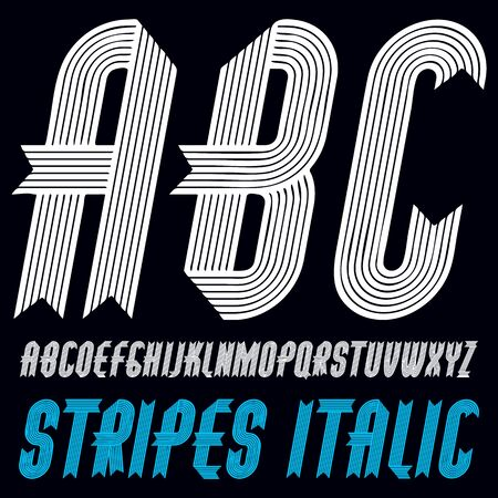 Vector trendy capital alphabet letters, abc collection. Retro bold italic condensed type font, script from a to z best for use in logotype creation. Made with stripy decoration. Иллюстрация