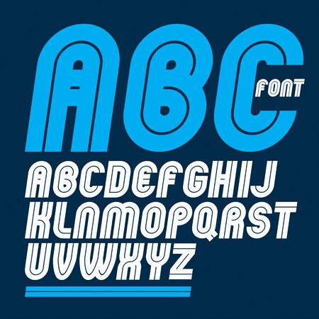 Set of vector rounded bold capital alphabet letters made with white lines, can be used in poster creation for social or commercial announcement Stock Illustratie