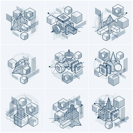Vector backgrounds with abstract isometric lines and figures. Templates made with cubes, hexagons, squares, rectangles and different abstract elements. Vector set.