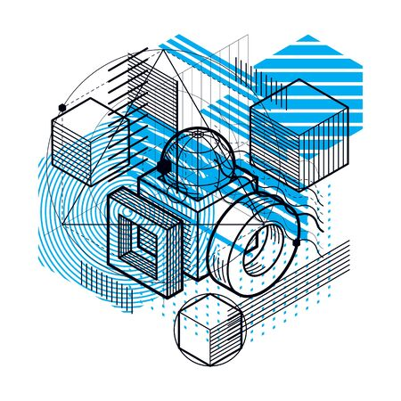Isometric abstract background with linear dimensional shapes, vector 3d mesh elements. Composition of cubes, hexagons, squares, rectangles and different abstract elements. Reklamní fotografie - 131496094