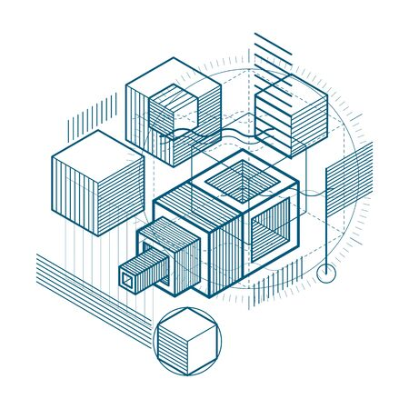 Isometric abstraction with lines and different elements, vector abstract background. Composition of cubes, hexagons, squares, rectangles and different abstract elements. Reklamní fotografie - 131496051