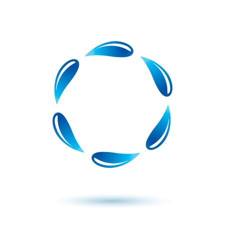 Pure water vector abstract icon for use as marketing design symbol. Human and nature harmony concept.
